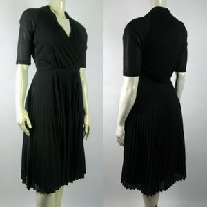 DAVID MEISTER Black Pleated Faux Wrap Dress Sz 10